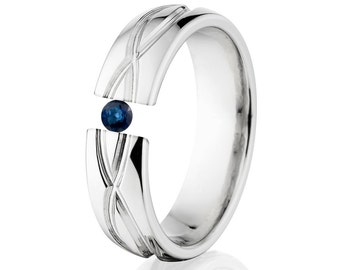 Tension Set Ring, 6mm, Uniquely You, Infinity, Sapphire, 6HR-T8-Infinity