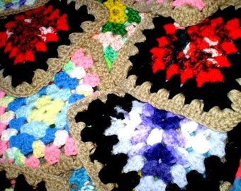 "Vintage COMPLETED GRANNY SQUARES Lot 80 Blocks 6""-8"" Make Your Own Afghan Many Colors w/Same Border Color Handcrafted Crochet"