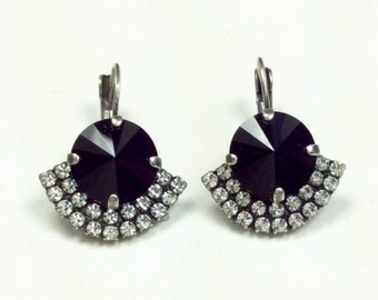 Swarovski Crystal 12MM Drop Earrings  Jet Drop Earrings With Art Deco Flair-  Pure Sophistication - FREE SHIPPING