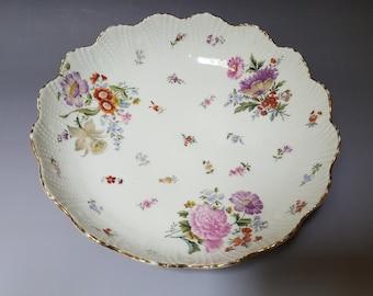 Vintage white porcelain floral design fruit bowl German mark scalloped edge gold trim