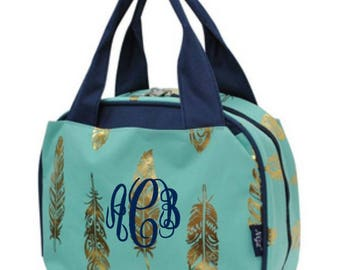 Monogram Gold and Mint Feather Lunch Bag Navy Trim
