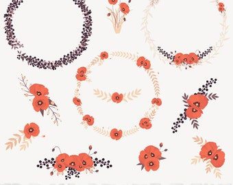 """Rustic Floral Wreaths Poppies and Berries Clipart Set - """"FLORAL POPPIES CLIPART"""" - 11 images, 300 dpi. Png files. Instant Download"""