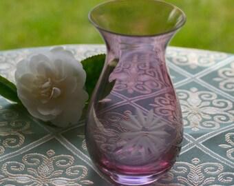 Pink Floral Etched Glass Vase