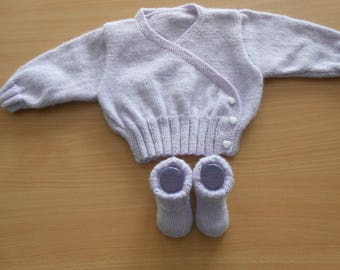 hidden heart girl with baby booties size 3 months