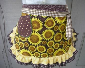 Aprons - Sunflower Womans Aprons - Womens Half Aprons - Yellow Aprons - Yellow Sunflower Aprons - Annies Attic Aprons - Brown Dot Aprons