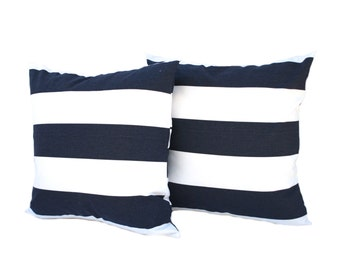 Two navy Blue white striped pillow cover, cushion, decorative throw pillow, decorative pillow, accent pillow, 18x18 pillow, pillow case