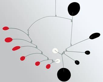 PAPILLON Mobile - Hanging Modern Mobiles in 3 Sizes - Black Red & White Calder Inspired Retro Home Decor Art by Atomic Mobiles