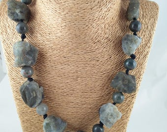 Raw and Beaded Labradorite Necklace, healing necklace, Hand Made With knotted String