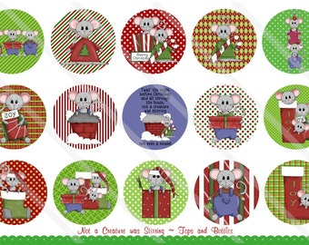 Not a Creature was Stirring 1 Inch Circles Collage Sheet for Bottle Caps, Hair Bows, Scrapbooks, Crafts, Jewelry & More