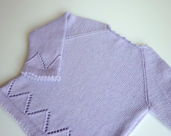 Hand knit baby sweater / knitted baby clothing /  baby cardigan / Merino wool sweater