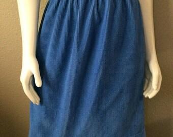Vintage Women's 80's Skirt, Blue, Corduroy, Knee Length (L)