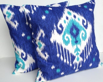 One blue ikat print pillow covers, cushion, decorative throw pillow, coral pillow, 18x18, nautical pillow