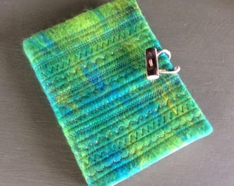 Notebook/sketchbook with embroidered felted cover - Blue / Green
