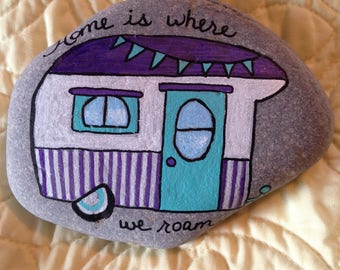 Home is where we roam Vintage Purple and Teal Hand Painted River Rock