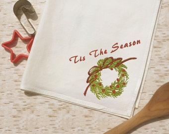 Tea Towel - Tis the Season Wreath - Holiday Towel - Country Western Kitchen Decor -Embroidered - Christmas Holiday Gift - Basket Liner