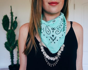Mint Bandana with Silver chain | turquoise jewelry | Western boho