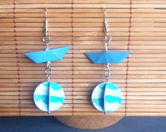 Earrings small boats origami - origami earrings - origami jewelry - unique jewelry