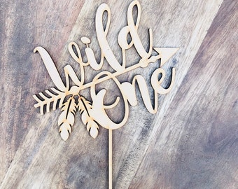 CLEARANCE 1 ONLY in Timber  Wild One Cake Topper Birthday Cake Topper Cake Decoration Cake Decorating Personalised Cake Toppers MGS