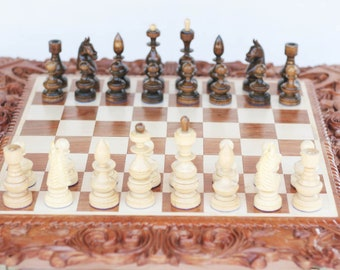 """Wooden Chess Set """"Classic"""" handmade chess set wood chess pieces"""