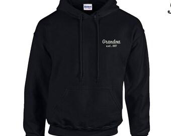 Grandma Est. 2017-1  Embroidered Hooded Sweatshirt. Established 2017 Embroidered  Hoodie. 18500