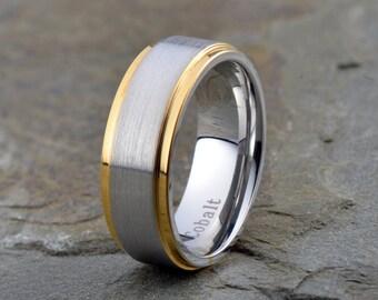 Mens Cobalt Wedding Band, Cobalt Chrome Wedding Band, Gold Edges Mens Cobalt Wedding Band, Mens Womens Cobalt Wedding Band, Wedding Ring