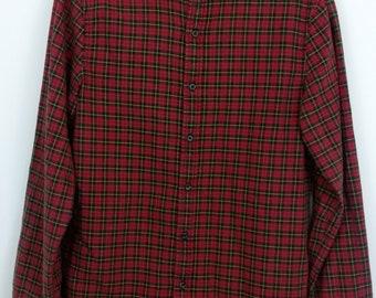 Vintage 90's Ralph Lauren. Men's Vintage Checked Shirt. Size M. Red Black Check.