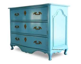 French Louis XIV Baroque Chest of 3 Drawers Azur Blue