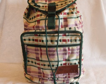 Longaberger 1995 Bee Backpack - Purple and Green Plaid in Excellent Condition