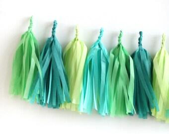 Adventure Tissue Tassel Garland Kit - Green, Blue & Yellow