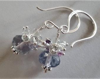 Fluorite Cluster Earrings, Fluorite Earrings, Sterling Silver Cluster Earrings, Fluorite Jewelry, Multi Color Gemstone Earrings