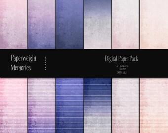 Dusk to Dawn - Instant download - Digital Papers - digital scrapbooking - pink, lilac, blue, grunge, gradient - CU OK