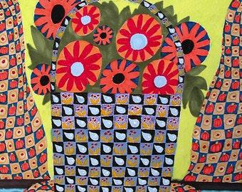 Folk Art Flower Print, Orange Flower Art, Woman's Bedroom Decor, Whimsical Flower Print, Yellow Orange, Grams Flowers by Paula DiLeo_61314
