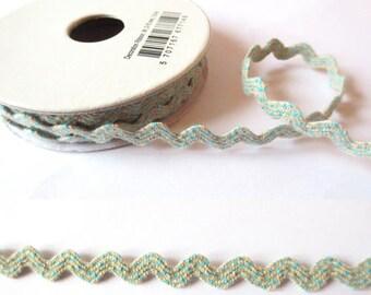 1.8 m x Ribbon cotton fancy 8mm Croquet linen/sky
