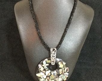 Beaded Necklace: Black Crystal Necklace. Mosaic Pendant. Abalone Pendant.