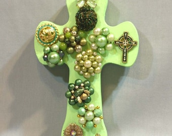 light green cross, Light Green Wall Cross with vintage jewelry