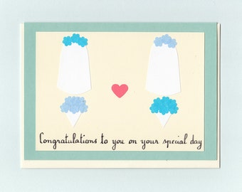 Gay Wedding card - two veils - Minimalisme nuptiale by Pauline Rousseau - 3 variations available