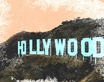 Screenprint of the Hollywood Sign - Matted Art Prints & Note Cards - Digitally-Produced, Beautiful, Realistic Quality