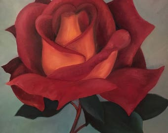 Red Circus Rose - Oil on Canvas - 30cm x30cm