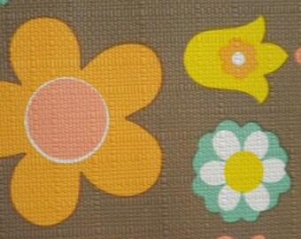 70s pop mod flower power vintage wallpaper by the meter brown salmon yellow orange