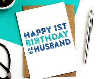 Happy 1st Birthday to My Husband Or Wife Birthday Celebration Typographic Greeting Card DYPHB20