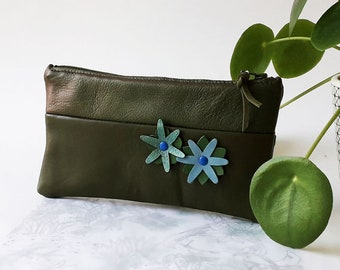 Leather pouch, cosmetic bag, pencil case, real leather, soft and supple leather, green leather, leather flowers, cotton lining, zip