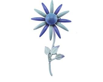 Vintage Purple Enamel Flower Brooch, Purple  Daisy Brooch, Purple Flower Brooch, Purple Flower Brooch, Purple and White Enamel Flower Brooch