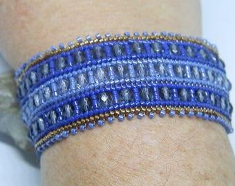 Weaving needle blue and bronze bracelet
