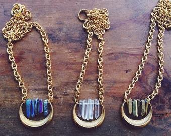 Crescent Quartz Crystal Pendant Necklace/ Moon Necklace/ Natural Gem Stone/ Titanium Quartz/ Cresent Pendant/ Geode Necklace
