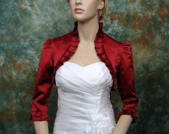 Wine Red 3/4 sleeve satin bolero wedding bolero jacket shrug
