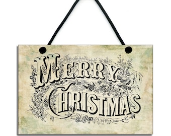 Merry Christmas Traditional Christmas Handmade Wooden Home Sign/Plaque 022