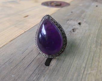 Amethyst Sterling Silver Ring Large Teardrop