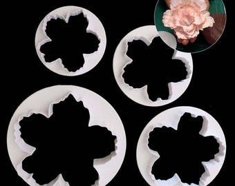 4 pc Large Peony Flower Cookie Cutter Plunger Mold Set - 51054 - Candy Fondant Cutter Garden Spring Wedding