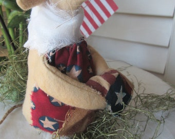 Large Handmade Mouse , Patriotic Garden Mouse  , Handmade Folk Art Decoration
