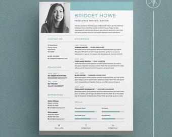 bridget resumecv template word photoshop indesign professional resume design